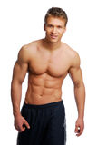 Health training body. Sport and health body of young man. Isolated on white Royalty Free Stock Images