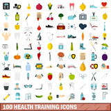 100 health training icons set, flat style Stock Image