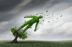 Health Trouble. Concept and human distress symbol as a tree shaped as a person being blown and stressed by strong storm winds as a medical health care insurance Stock Images