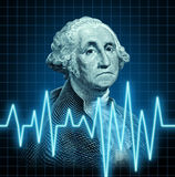 Health of the U.S. economy. Featuring the vintage portrait of George Washington with a heart monitor ekg graph symbol showing the  American currency during a Royalty Free Stock Image