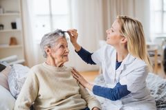 A health visitor combing hair of senior woman at home.. A young health visitor combing hair of senior women sitting on a bed at home royalty free stock photos