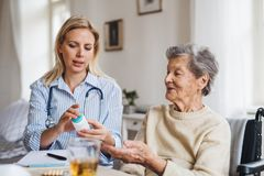 A health visitor explaining a senior woman in wheelchair how to take pills. A young health visitor explaining a senior women in wheelchair how to take medicine royalty free stock photo