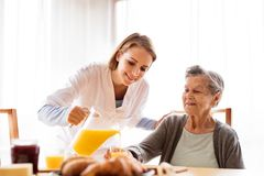 Health visitor and a senior woman during home visit. Health visitor and a senior women during home visit. A nurse pouring orange juice to and an elderly woman Stock Photography