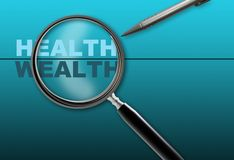 Health - wealth. Word health - wealth  and magnifying glass with pencil made in 2d software on gradient  background Royalty Free Stock Photos