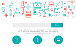 Health Web design template with thin line icons, doctor app, digital medicine. Healthcare simple design graphic. Infographic Stock Photography