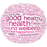 Health And Wellbeing Tag Cloud. Good Health And Wellbeing Tag Cloud Royalty Free Stock Images