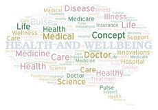 Health And Wellbeing word cloud. Wordcloud made with text only stock illustration