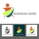 Health and wellness business logo and web icons. Abstract wellness and health business logo design and web icons with color variation stock illustration