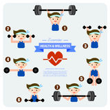 Health and wellness illustration, weight training Royalty Free Stock Images