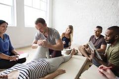 Health Wellness Massage Training Concept. Health Wellness Massage Training Class stock photo