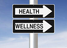 Health and Wellness. Modified one way street signs on Health and Wellness Stock Photo