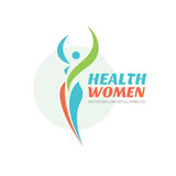 Health women - vector logo template. Healthy sign. Beauty salon symbol. Fitness woman concept illustration. Human character. Royalty Free Stock Images