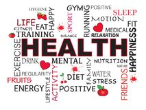 Health word background. Health word concept illustration with icons Stock Images