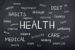 Health Word Cloud Background Design. Health word cloud on chalkboard royalty free stock photos