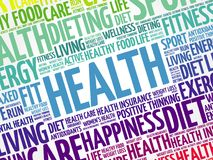 Health word cloud background. Health concept Stock Photos