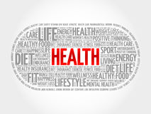Health word cloud, fitness. Health concept Stock Photos