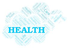 Health word cloud. Wordcloud made with text only royalty free illustration