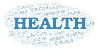 Health word cloud. Wordcloud made with text only vector illustration
