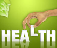 Health. Word concept with hand Stock Photos