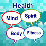 Health Words Indicates Well Healthcare And Wellness Stock Image