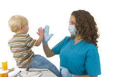 Health Worker Gives High Five Stock Images