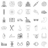 Health worker icons set, outline style. Health worker icons set. Outline set of 36 health worker vector icons for web isolated on white background Royalty Free Stock Images