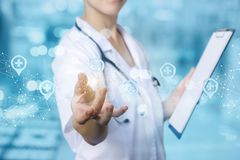 Health worker selects a location . stock photo