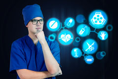 Health worker thinking Royalty Free Stock Images