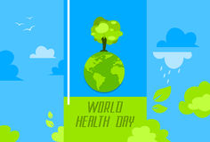 Health World Day Green Globe With Growing Tree Stock Images