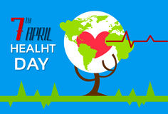 Health World Day Tree With Globe Red Heart Shape Stock Photo