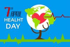 Health World Day Tree With Globe Red Heart Shape Stock Photo