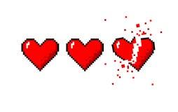 Healthbar of hearts and one broken heart stock illustration