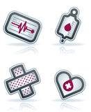 Healthcare. 4 icons in Healthcare 22 degrees blue icons set from left to right: pulse trace, blood bag, adhesive plaster Royalty Free Stock Photography