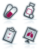 Healthcare. 4 icons in Healthcare 22 degrees blue icons set from left to right: pills, pills bottle, diagnosis card, lung x-ray Stock Photos