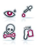 Healthcare. 4 icons in Healthcare 22 degrees blue icons set pictured here from left to right: Eye drop, Dropper, Skull and Bones, Dead Body Feet Label Stock Photos