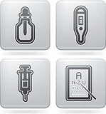 Healthcare. 4 icons in Healthcare 22 degrees blue icons set from left to right Royalty Free Stock Photo