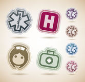 Healthcare. 4 medicine and healthcare icons, from left to right, top to bottom Stock Photo