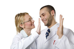 Healthcare. And medicine: young doctors expressing positivity Stock Photo