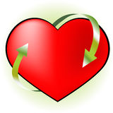 Healthcare. Vector red heart illustration, pulse, cycle Stock Photo