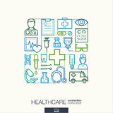 Healthcare abstract background, integrated thin line symbols. Royalty Free Stock Image