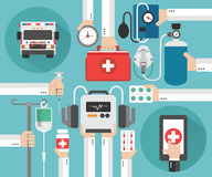 Healthcare Ambulance online concept design flat Royalty Free Stock Photo