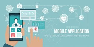 Healthcare app on a smartphone. Healthcare and medical consultation app on a smartphone, the user is videocalling a doctor and sharing medical records Royalty Free Stock Images