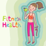 Healthcare background. Fitness girl with apple Royalty Free Stock Photo