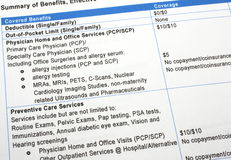 Healthcare Benefits Summary. Close-up photograph of a summary of healthcare insurance benefits Stock Image