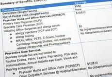 Healthcare Benefits Summary Stock Image