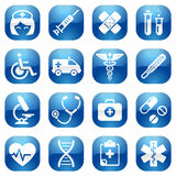 Healthcare Blue Icon Set. A cute icon set with lots of healthcare themed icons Stock Photos