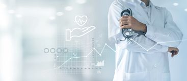 Free Healthcare Business Graph And Medical Examination, Health Insurance, Doctor With Stethoscope In Hand And Data Growth Chart. Stock Photo - 154742180