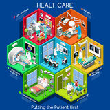 Healthcare 01 Cells Isometric. Clinical Trials and Healthcare. Hospital Departments with People NEW bright palette 3D Flat Vector Icon Set. Rooms with Patients Royalty Free Stock Photo