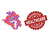 Healthcare Collage of Mosaic Map of Krasnodarskiy Kray and Scratched Stamp royalty free illustration