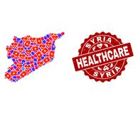 Healthcare Collage of Mosaic Map of Syria and Textured Seal Stamp royalty free illustration